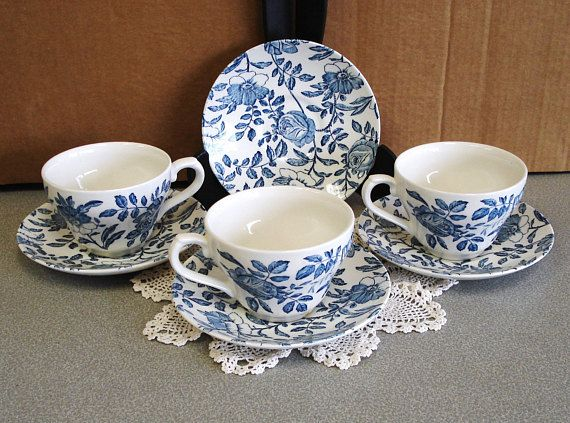 Churchill England Blue Peonies 7 Pieces. #bluepeonies