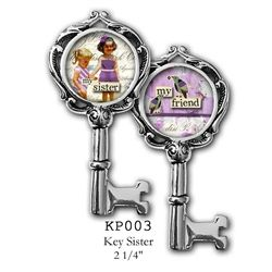 """Two sided charm or pendant with """"Sister"""" and """"My Friend"""". Vintage collage art with two sisters. Wear alone or combine with more charms to create an individualized gift for Your sister!  Each charm has a clip at the top that will easily attach to any of our necklace or bracelet chains! $17.99 by Pick Up Sticks Jewelry."""