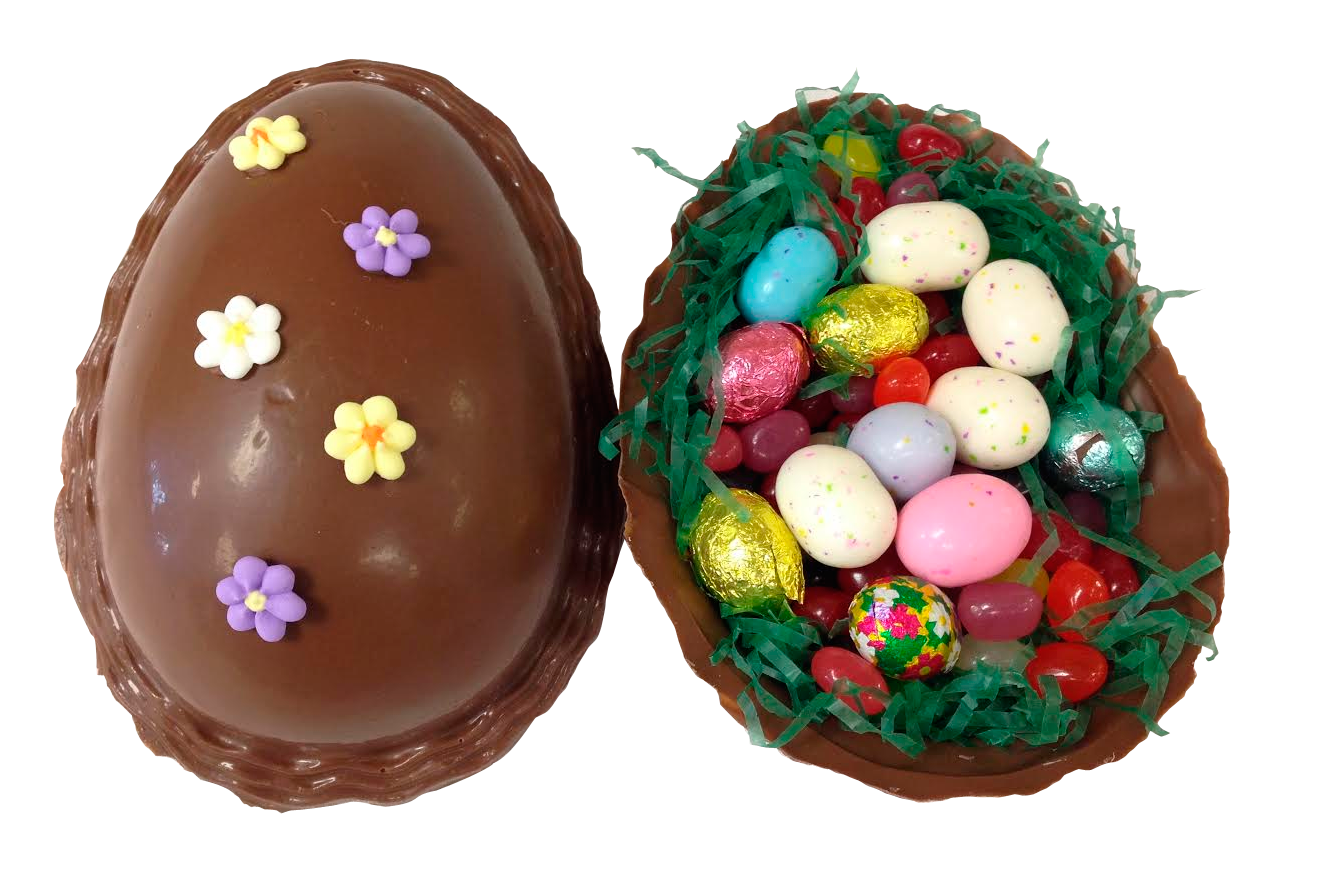 Our Hand Decorated Hollow Eggs Are All Chocolate And Come Filled With Jelly Beans And Foil Wrapped Solid Chocolate Eggs Malted Milk Milk And Eggs Candy Basket
