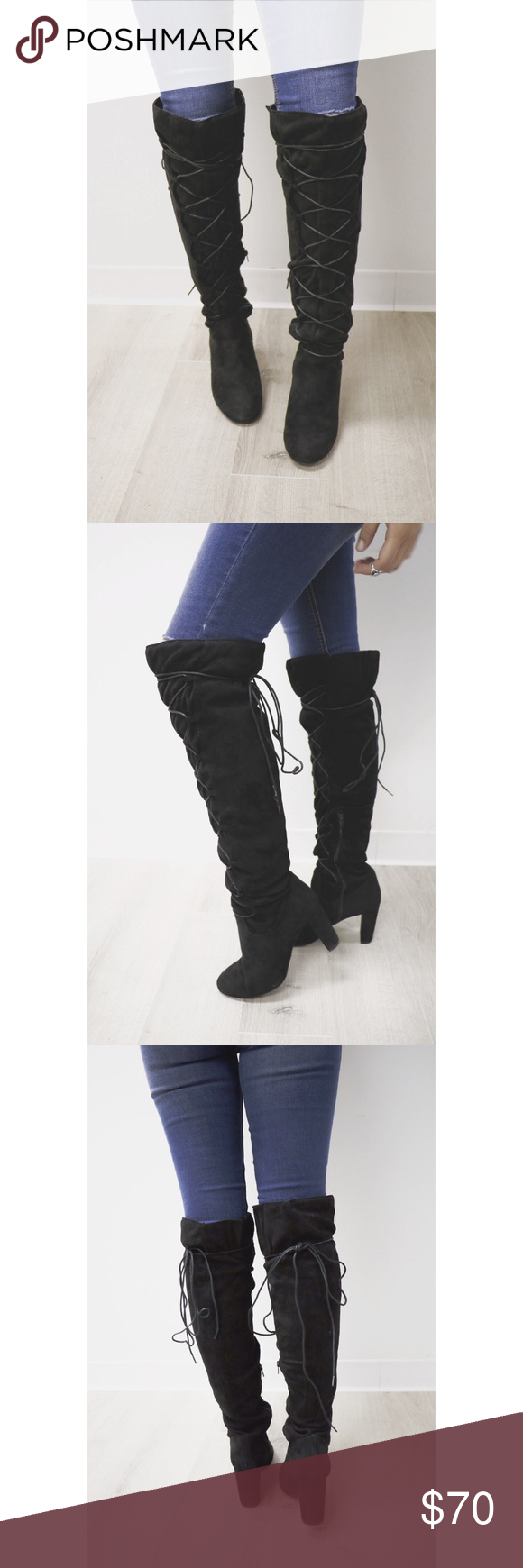 674fc240bf0 Black Suede Over The Knee Boots Boutique