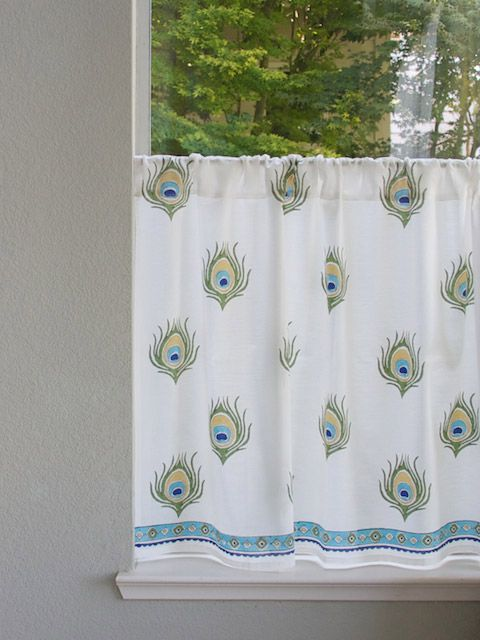ivory kitchen tier curtains, peacock kitchen cafe curtains, kitchen