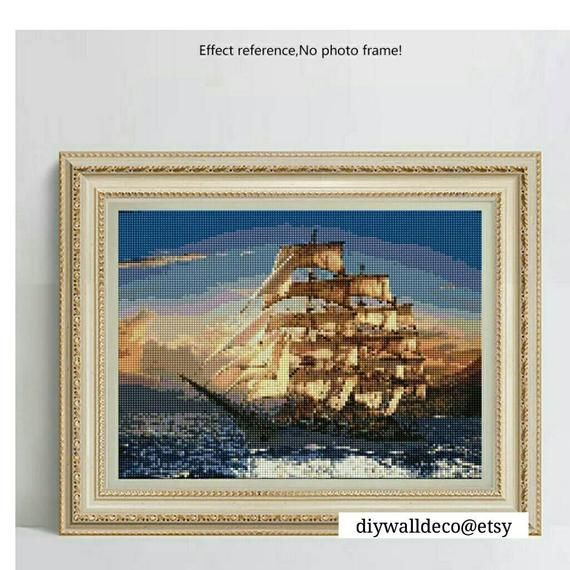 5d Diamond Painting Kit Ship Decor Ocean Wall Art Sea Ship Round