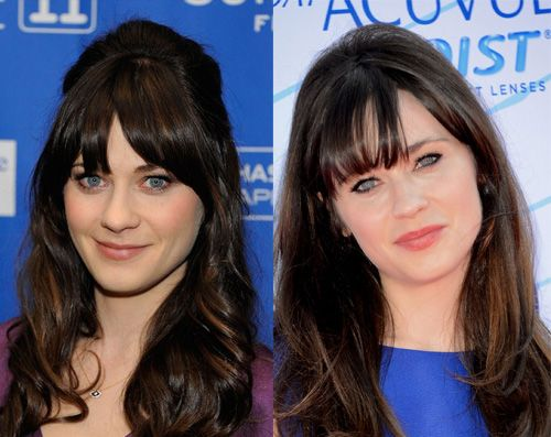 zooey deschanel nose job celebrity plastic surgery before and