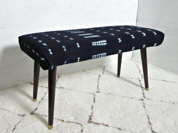 Awesome Indigo Mudcloth Bench Mud Cloth Ottoman Global Textile Machost Co Dining Chair Design Ideas Machostcouk