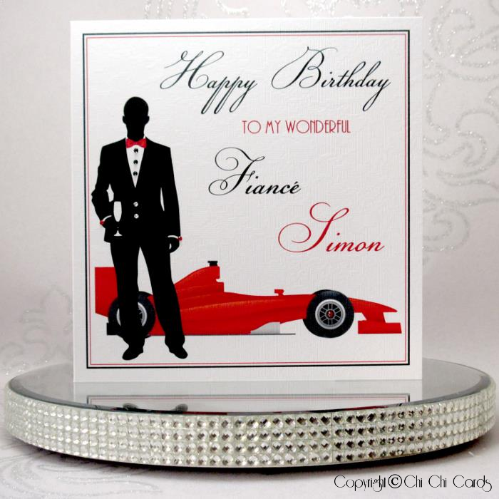 Luxurious Birthday Card Man with F1 Car Date Time – Birthday Cards with Cars