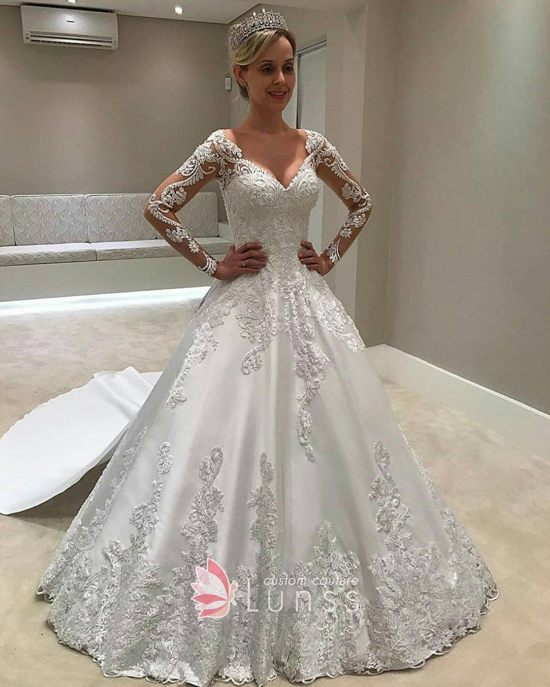 Plunging Sheer Long Sleeve Corset Wedding Ballgown With Images