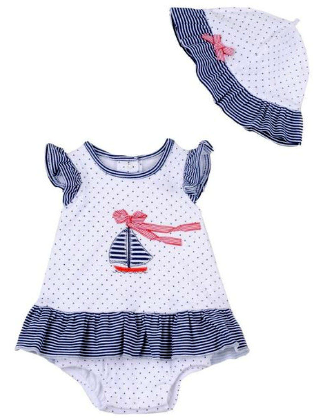 Little Me BabyGirls Sailboat Dress with Sunhat  months  new