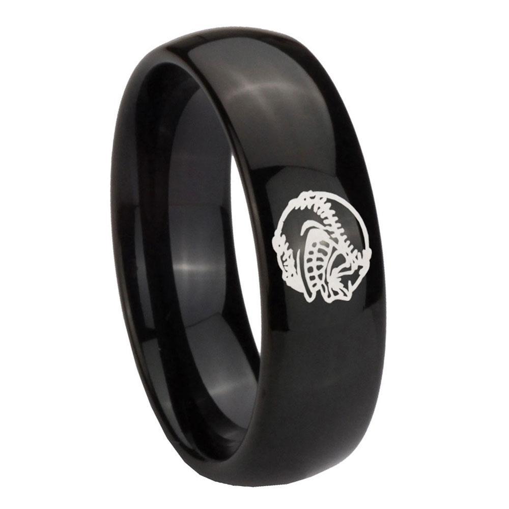 Tungsten Laser Angry Baseball Ring Mens wedding rings
