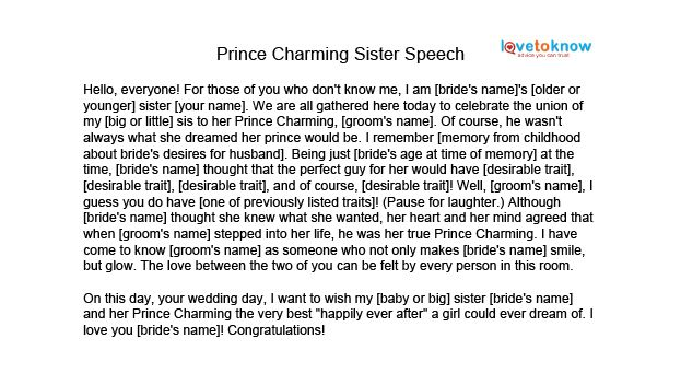 Image Prince Charming Sister Speech Thumb Jpg Matron Of Honor Speech Maid Of Honor Speech Maid Of Honor Toast