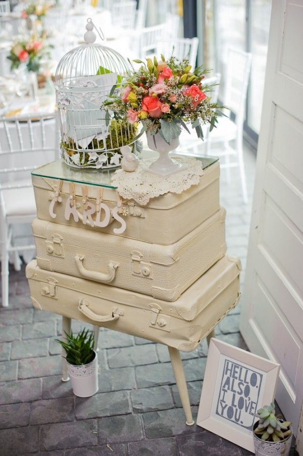 vintage wedding card table- use old suitcase propped open for cards(forget all the other junk)
