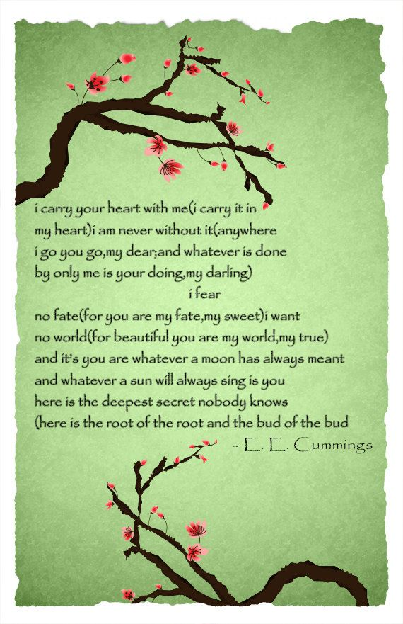 Ee Cummings I Carry Your Heart With Me Poem Poster By Bccreate 15 00 My Love Poems Quote Posters Life Thoughts