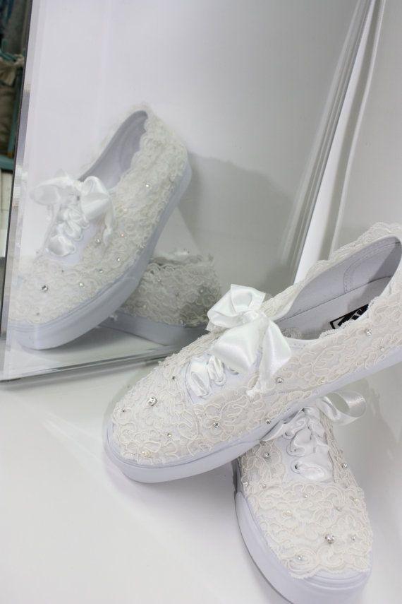 Wedding Vans Lace Vans Bridal Tennis Shoes Lace by ...