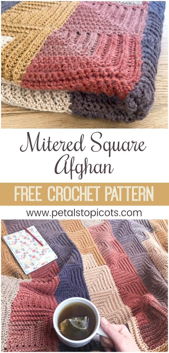 Continuous Mitered Square Crochet Afghan Pattern | Crochet afghan ...