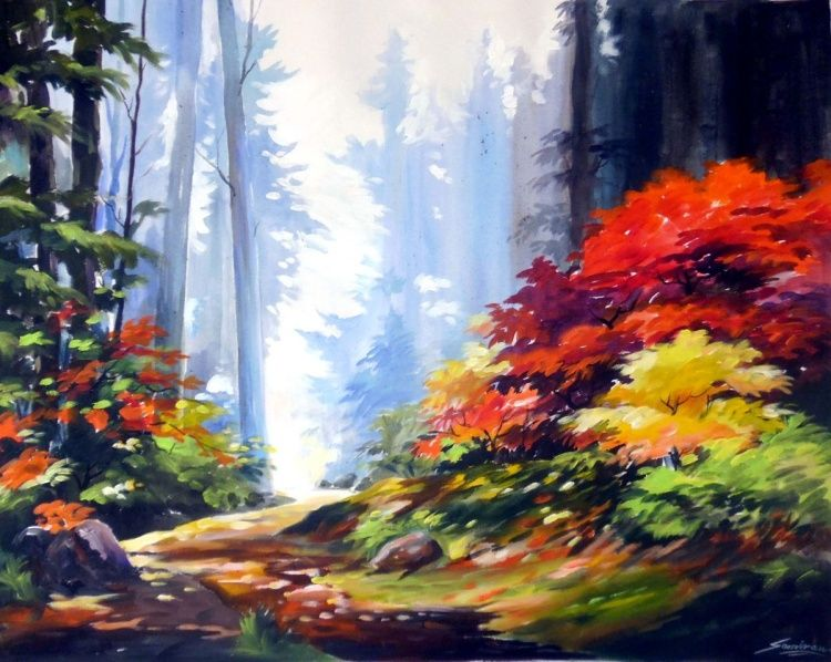 Beauty of Autumn Forest-  Acrylic painting by Samiran Sarkar