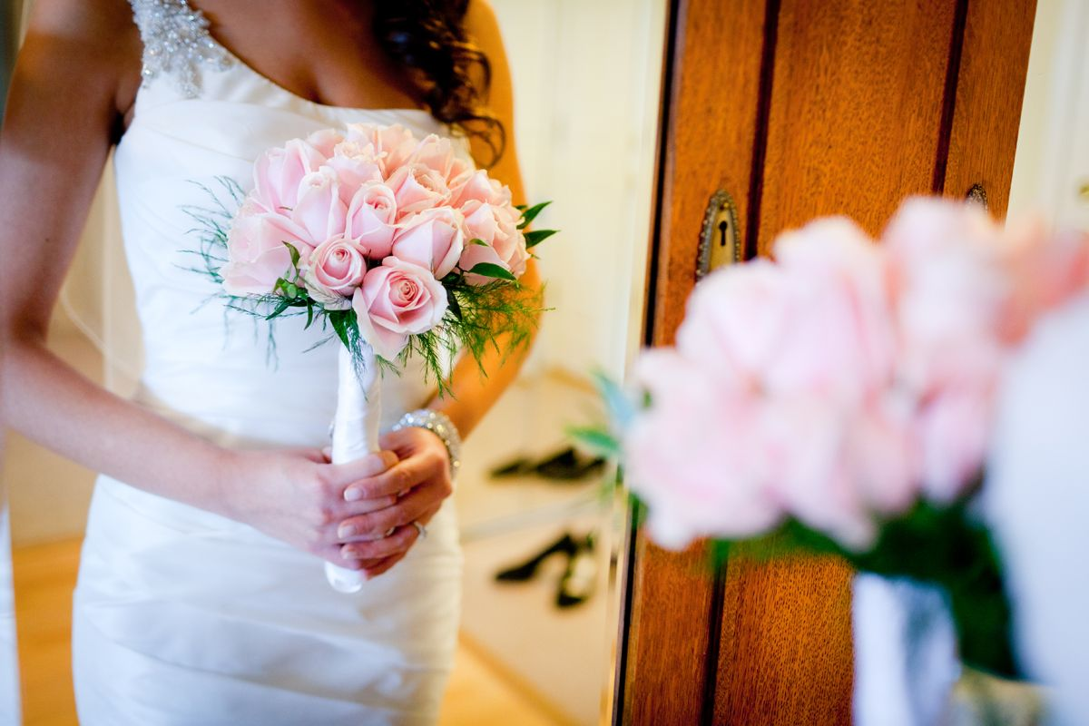 Vancouver Wedding Photography.  Bride's bouquet of pink roses.