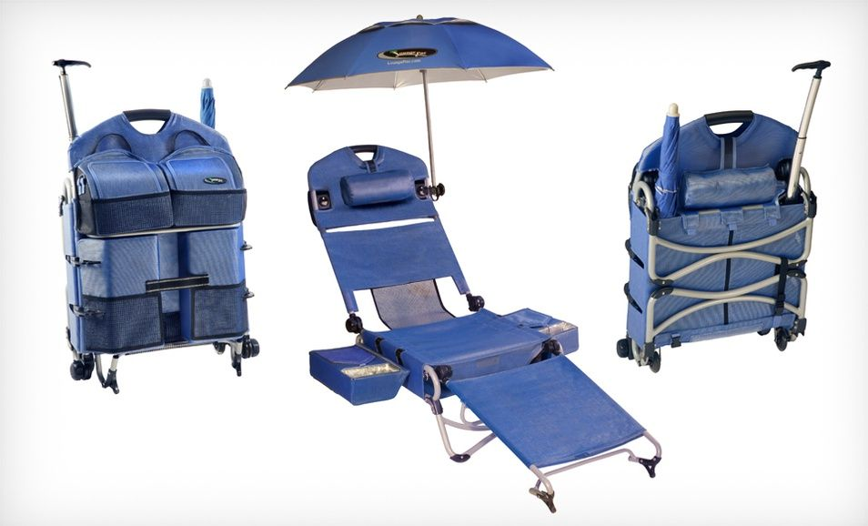 7ffc52cc772 The ultimate lounge kit  LoungePac folding beach chair on wheels with  coolers and speakers