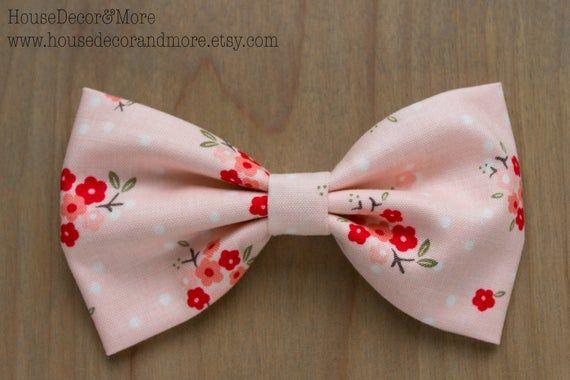 Pink polka dot floral Fabric Hair Bows - Girls Fabric Hair Bow - Toddler Fabric Hair Bows - Birthday Hair Bows