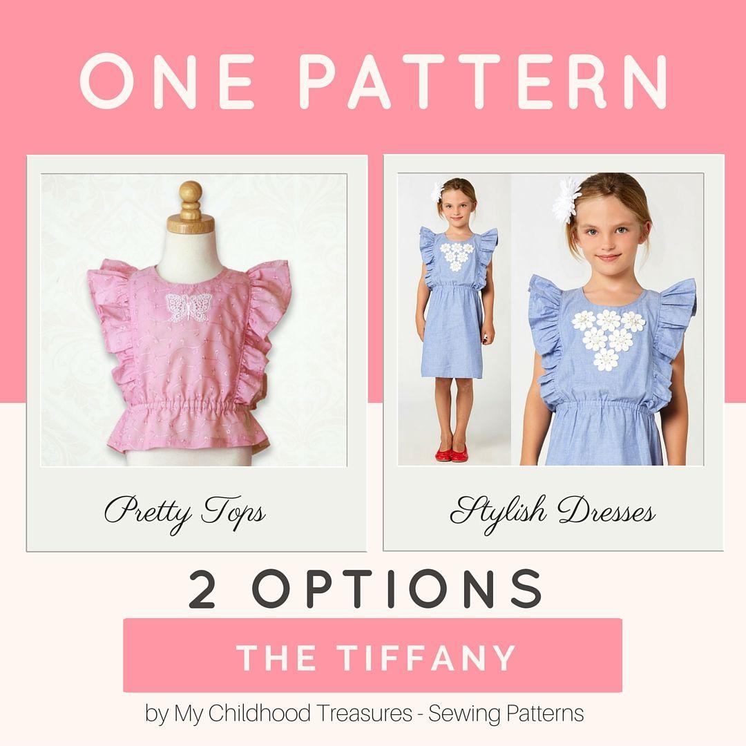 TIFFANY - Girls Dress Pattern, Top Sewing Pattern