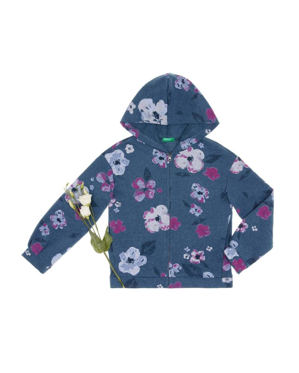 01c8ecce7b6 Φούτερ με floral με κουκούλα, Μπλε - Check out the new collection ...