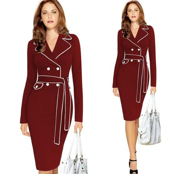 Autumn And Winter New Arrivals Bandage Slim lapel soild color dress Women || Collect your elegant Clothes or Accessories at mamirsexpress.com. #Fashion #WomenFashion #Sexy #Ladies #Clothes #Blazers #trendy #bodysuits #rompers #cocktail