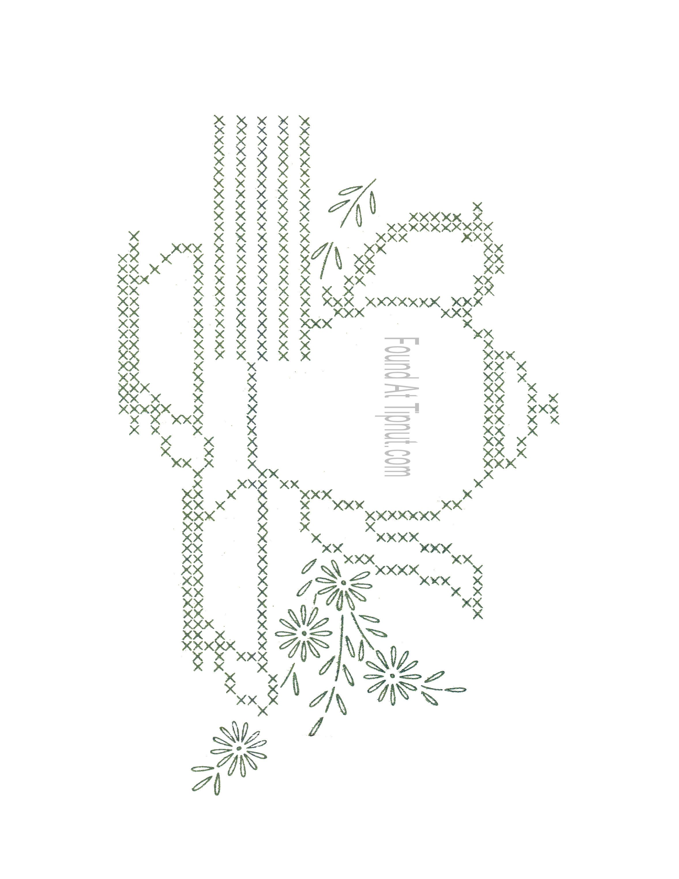 free embroidery pattern of coffee cups | Vintage Cross Stitch ...