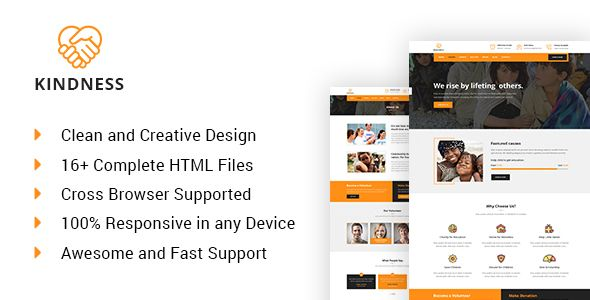 Kindness - Charity, Donation & Nonprofit HTML5 Template | Social ...