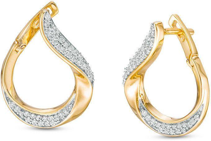 1f1925a17 1/3 CT. T.w. Diamond Flat Front Twist Earrings in 10K Gold in 2019 ...