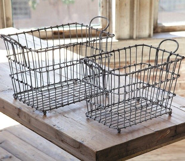 Large Milk Crate Wire Baskets, Set of 2 images