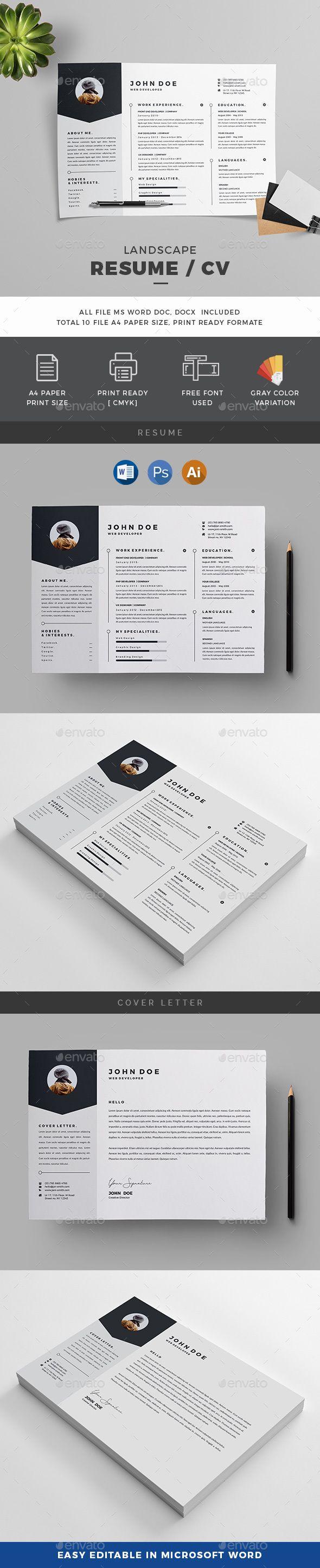 Landscape Resume | Pinterest | Template, Ai illustrator and Cv template