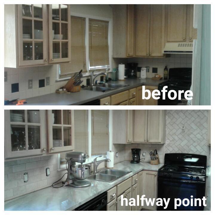 Workshop Girl: Kitchen Renovation. DIY, backsplash, counters.