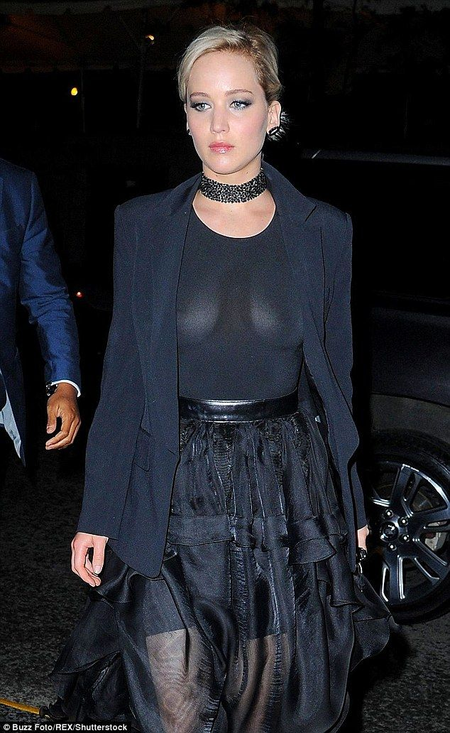 4a01163ca1 Fashion risks  Actress Jennifer Lawrence wore a see-through back top and  sheer skirt as she headed to the GLAAD Media Awards in New York on Saturday