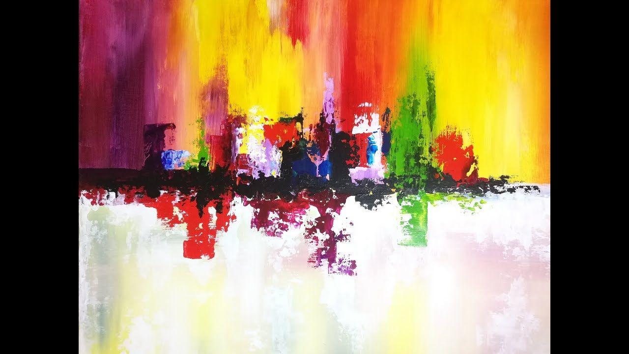 Peinture Abstraite Au Couteau Acrylique Facile Peinture