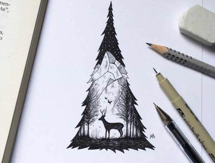 1001 id es pour dessiner un arbre merveilleux avec exemples dessin paysage arbres de no l. Black Bedroom Furniture Sets. Home Design Ideas