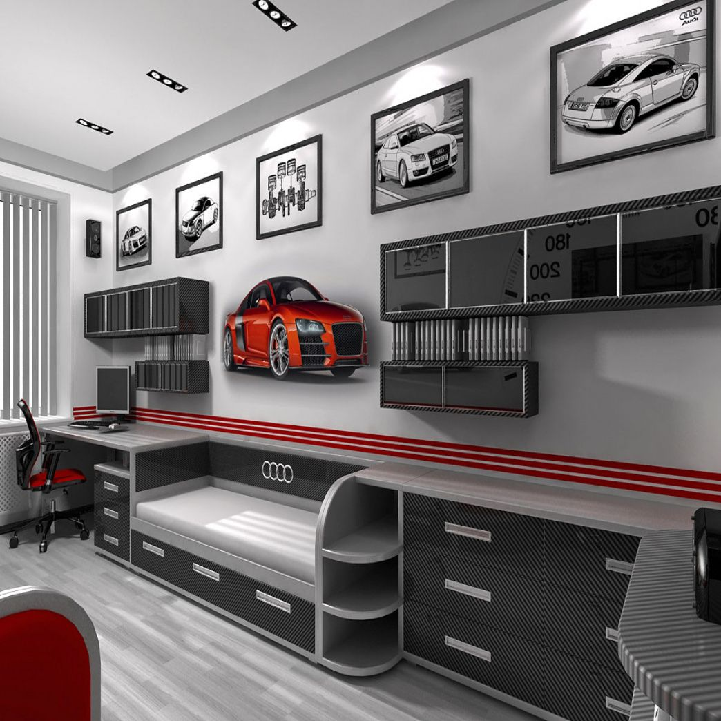 Race Car themed Bedroom - Interior Bedroom Paint Colors Check more at http://maliceauxmerveilles.com/race-car-themed-bedroom/