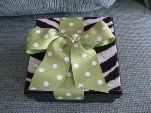 New Zebra Print Fiberboard Trinket Box w Spring Green Polka Dot Ribbon Bling | eBay
