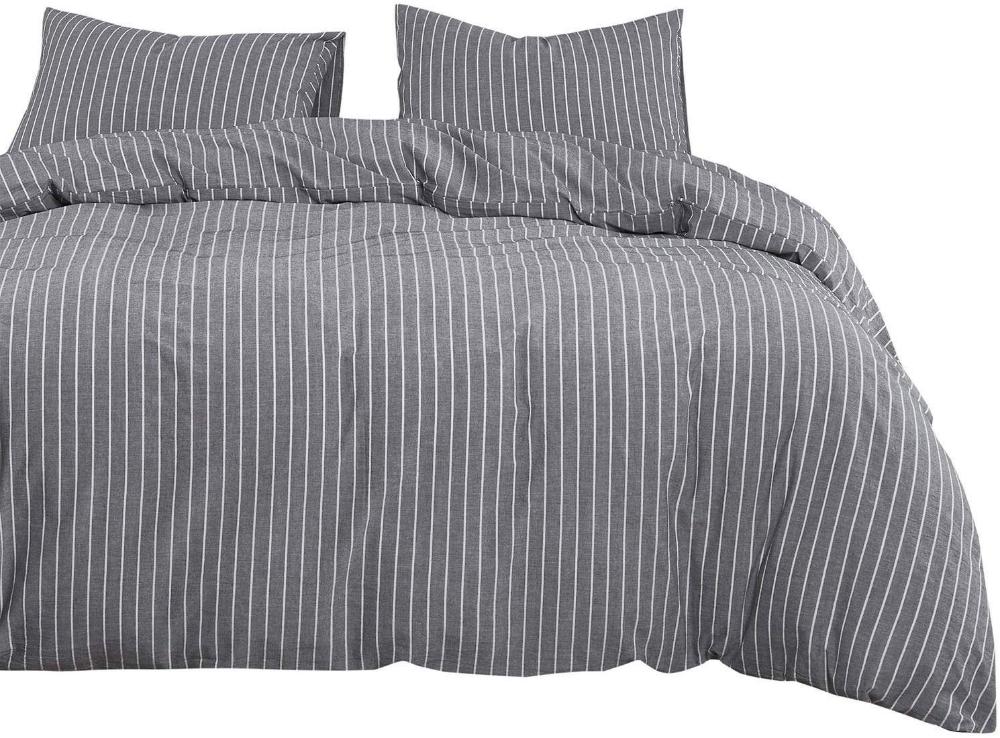 Amazon Com Wake In Cloud Gray Striped Duvet Cover Set 100