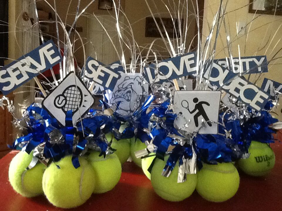 Tennis centerpieces up cycle Crafty Pinterest Tennis