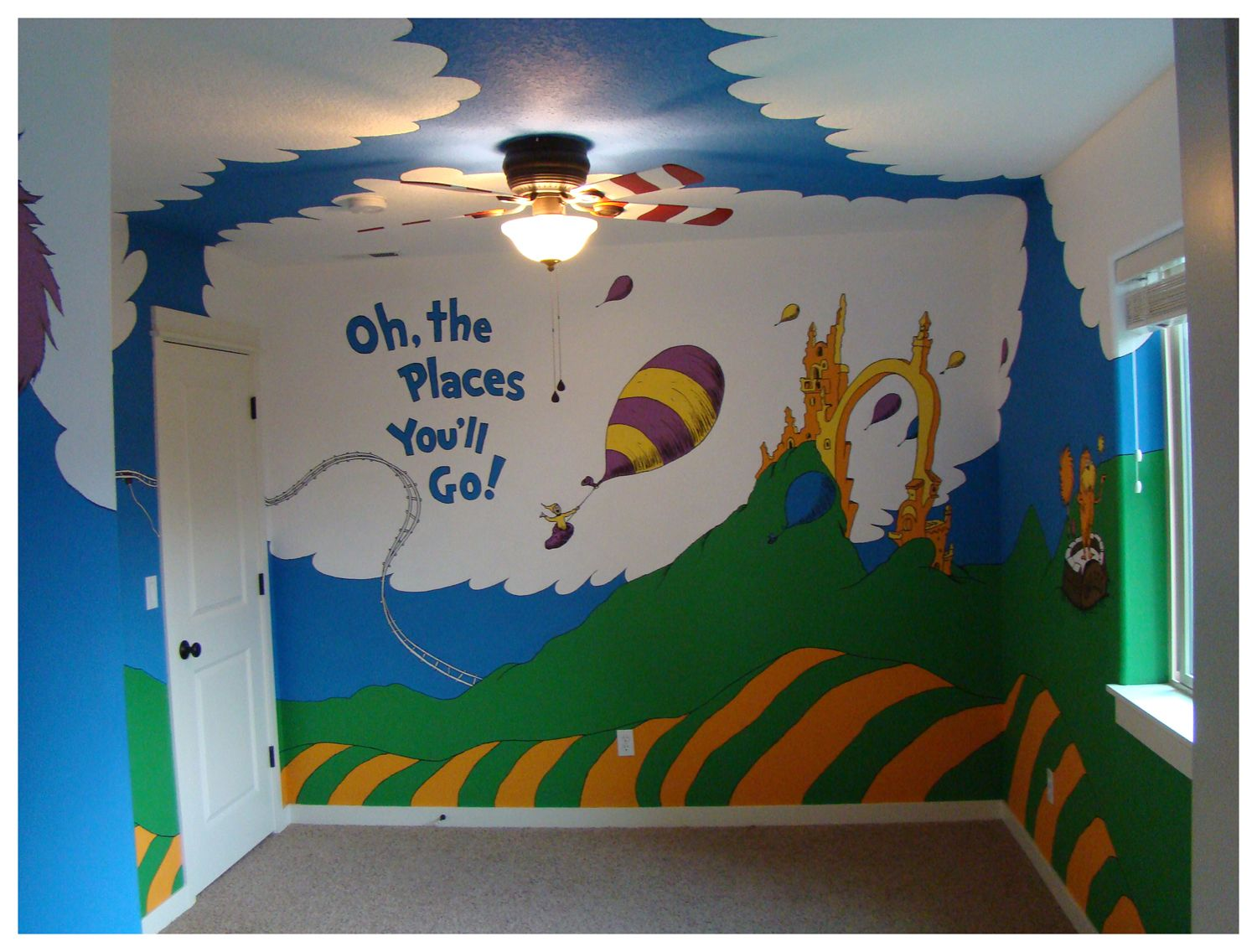 Charming Dr Seuss Mural   Oh The Places You Will Go Playroom Part 6