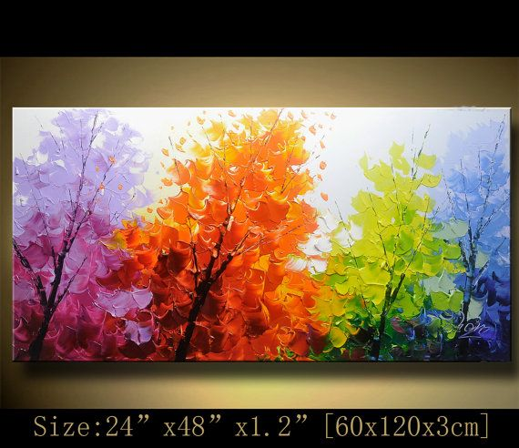 Arbre color de contemporain wall art tableaux peinture for Tableau art contemporain design decoration