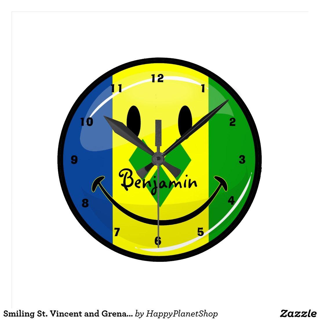 Smiling St Vincent And Grenadines Flag Round Clock Zazzle Com Clock Vincent Wall Clock