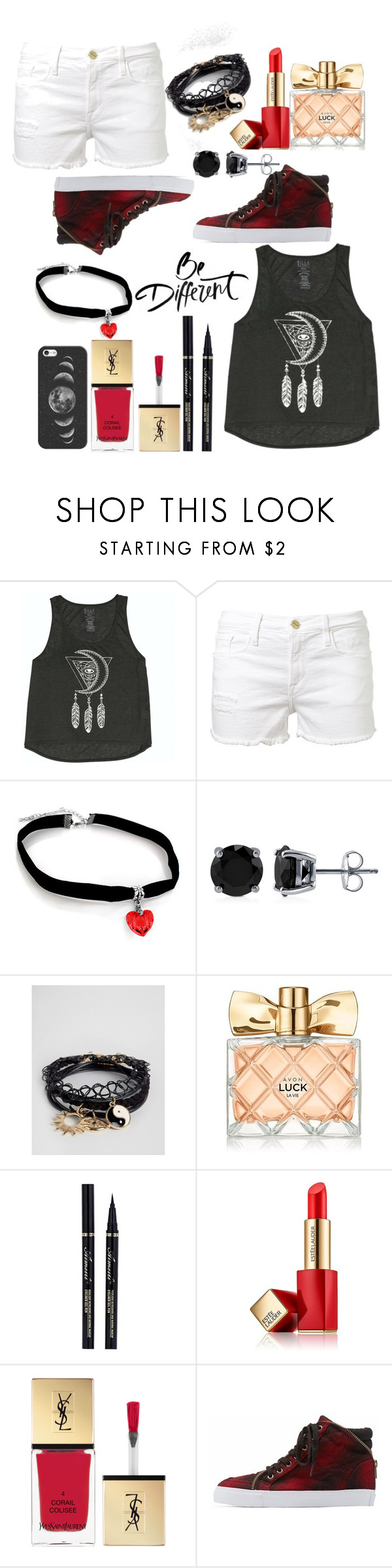 """Untitled #22"" by lonely-or-broken ❤ liked on Polyvore featuring Billabong, Frame Denim, BERRICLE, ASOS, Avon, Estée Lauder, Yves Saint Laurent, Soda and Casetify"