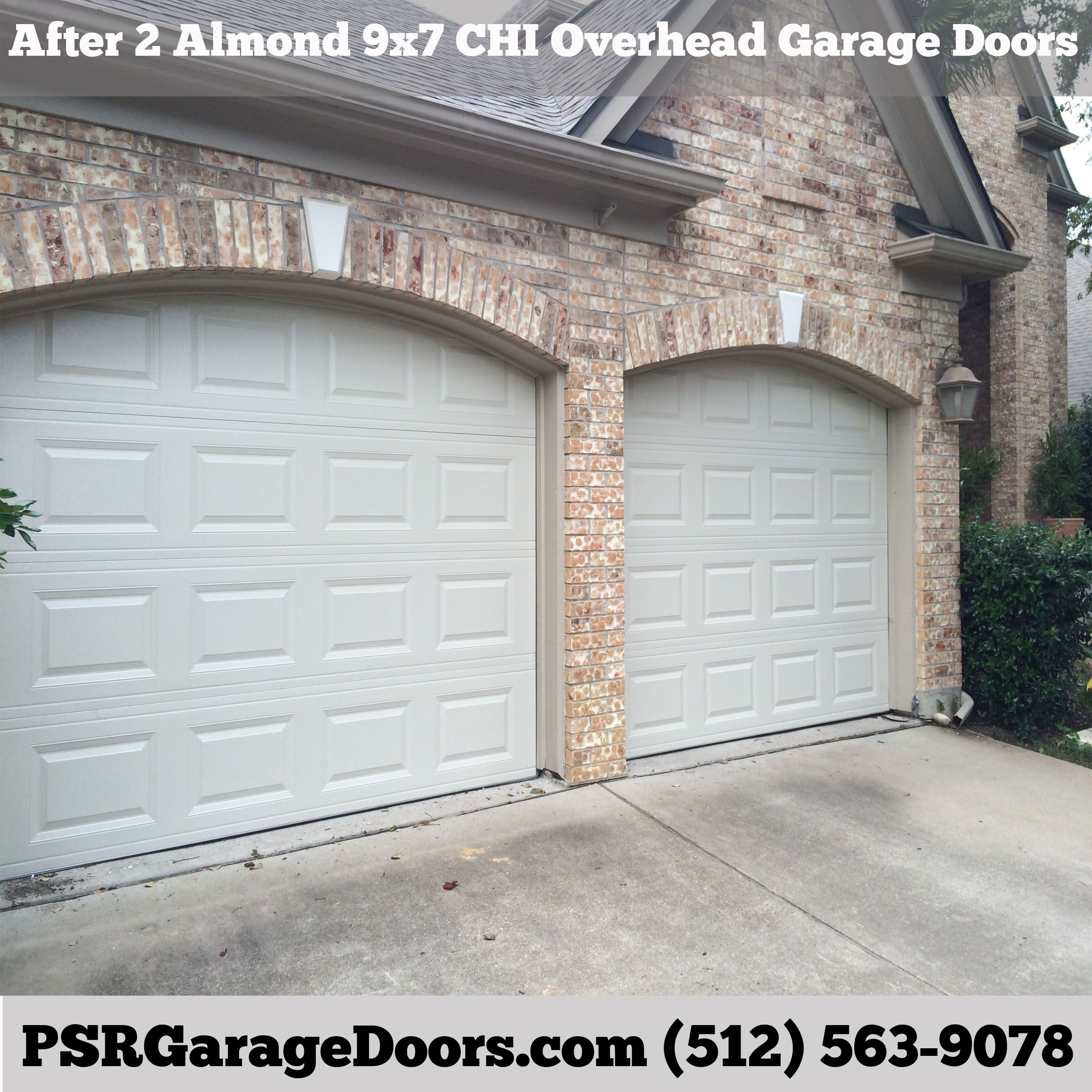 After Pic Of New 9x7 Almond Colored Chi Overhead Garage Doors Overhead Garage Door Garage Doors Garage Door Operators