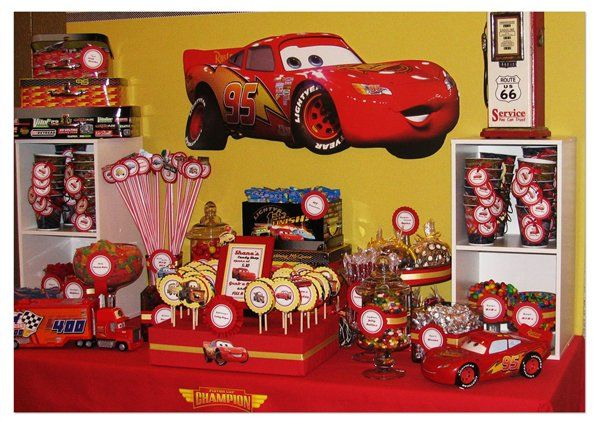 cars lightning mcqueen candy table
