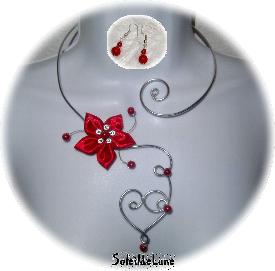 Rouge Satin ❀ Collier Mariage Cristal Strass Coeur bo Fleur l1TKJcF