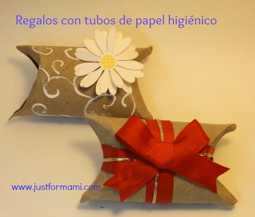 Empaques de regalos con tubos de papel higi nico una for Colgadores para papel higienico
