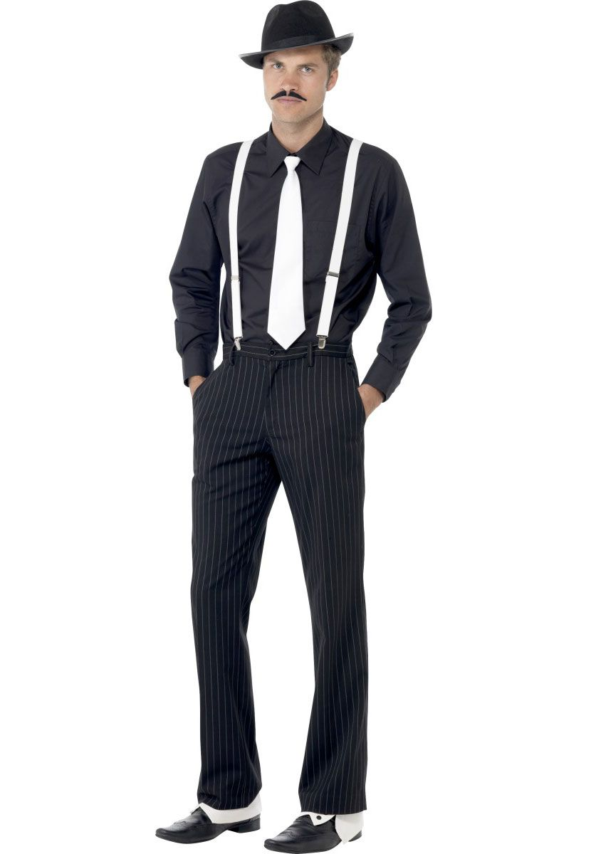 Mens Adults Pimp Gangster Hat Braces Tie and Cigar Set 1920/'s Mafia Fancy Dress