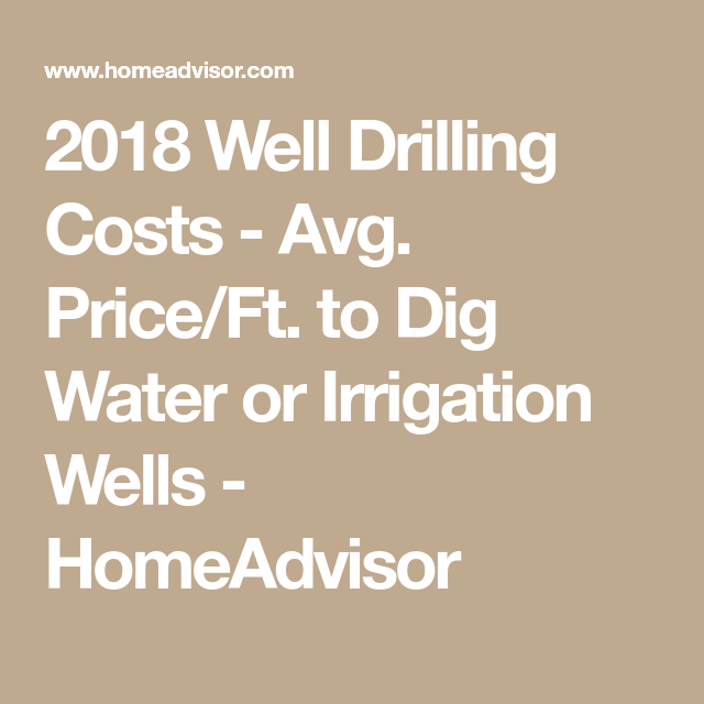2018 Well Drilling Costs - Avg. Price/Ft. to Dig Water or ...