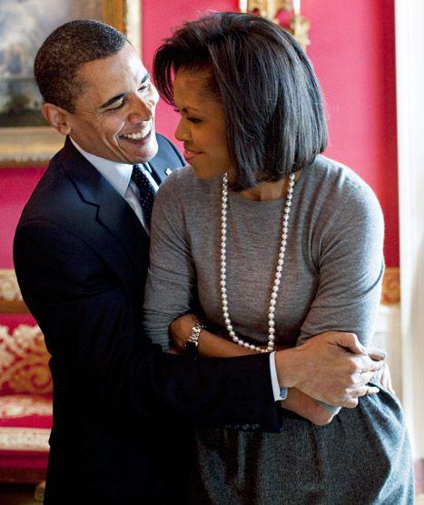 Barack And Michelle Obama Hugging