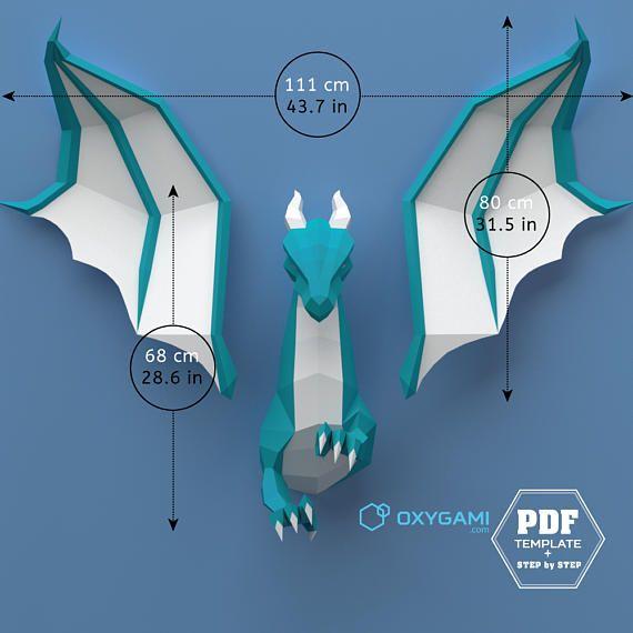 Low poly dragon, 3D papercraft dragon, DIY dragon, Do it ...