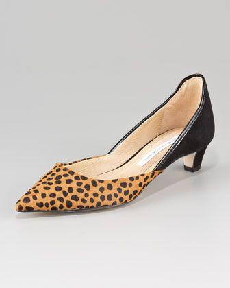 Alice Leopard-Print d\'Orsay Kitten-Heel Pump by Diane von Furstenberg at Neiman Marcus.